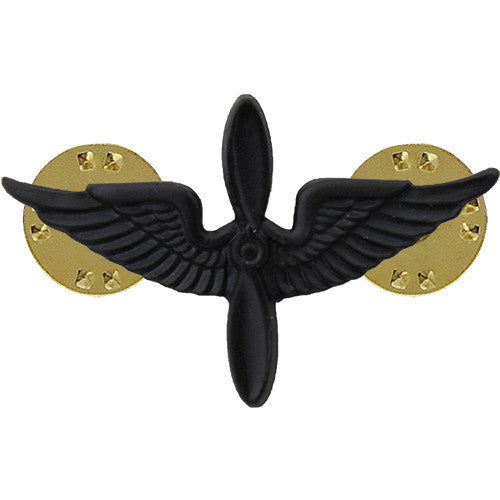 Army Officer Collar Device: Aviation - black metal