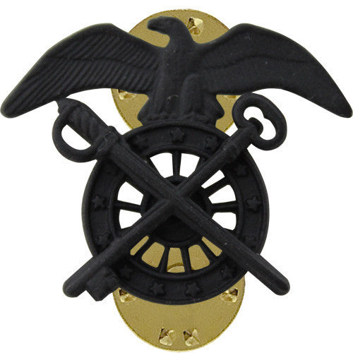Army Officer Collar Device: Quartermaster - black metal