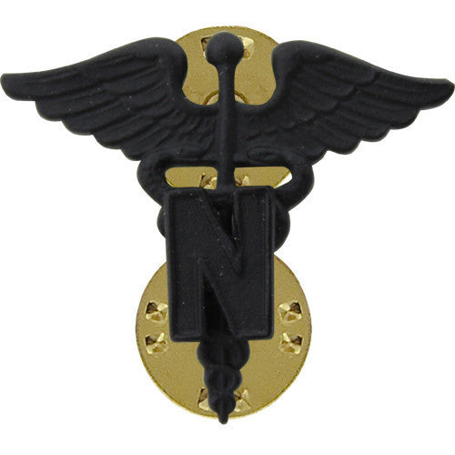 Army Officer Collar Device: Medical Nurse Corps - black metal