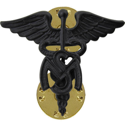 Army Officer Collar Device: Medical Service Corps - black metal