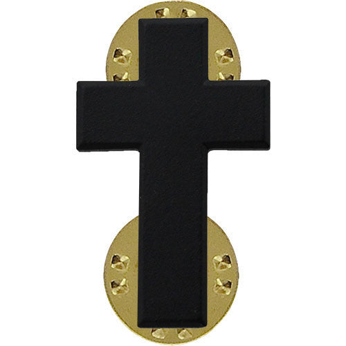 Army Officer Collar Device: Christian Chaplain - black metal