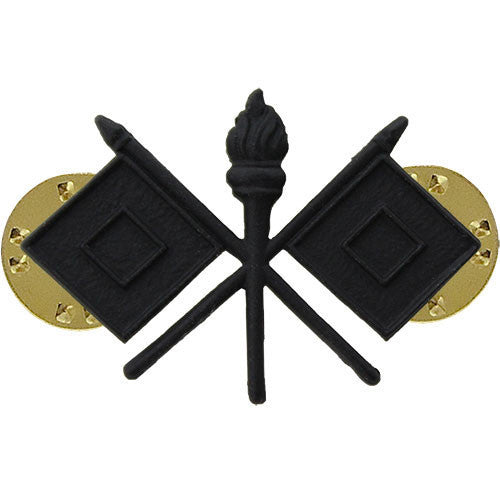 Army Officer Collar Device: Signal - black metal