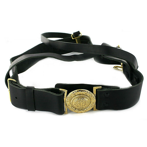 Coast Guard Sword Belt: Leather Belt with Gold Buckle