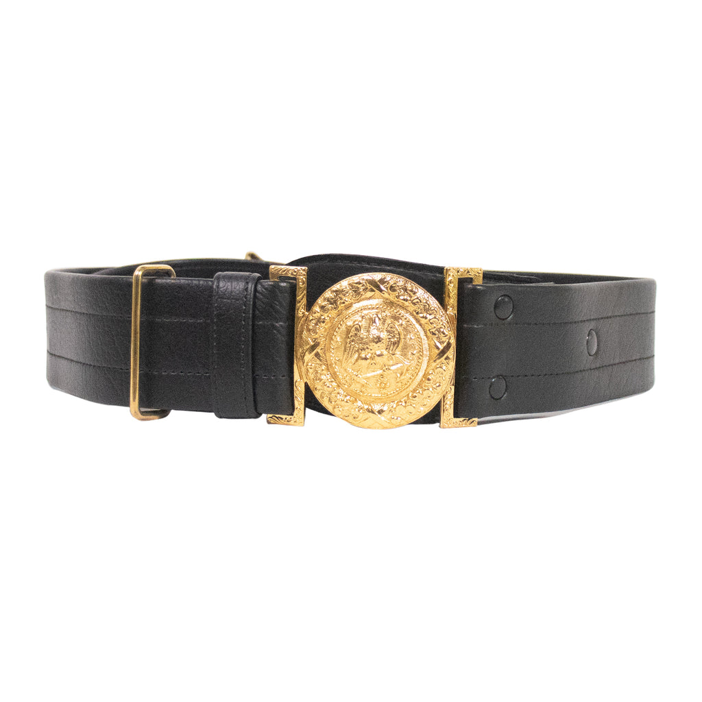 Navy Sword Belt: Vinyl Belt with Gold Buckle