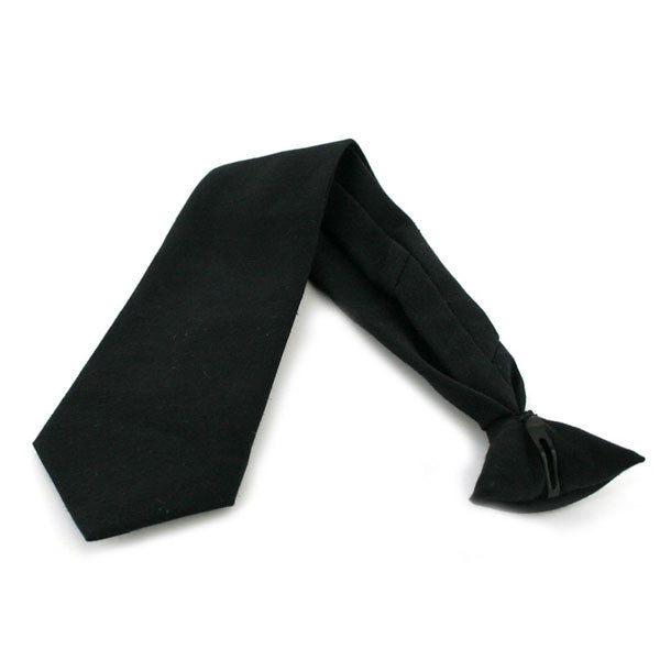 Army Tie: Pre Tied Clip on - black extra long length