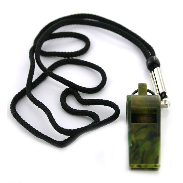 Whistle and Cord - olive drab plastic