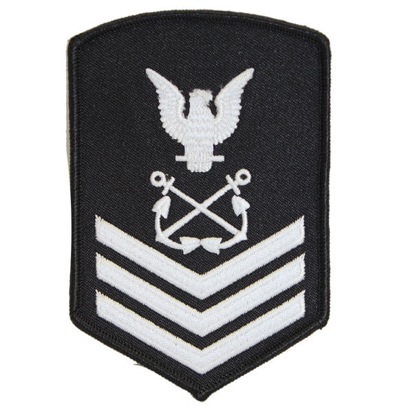 NLCC - PO1 with (3 Stripes) NLCC Cadet Rating Badge Male (White on Black)