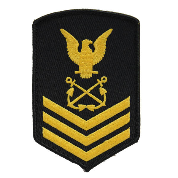USNSCC - PO1 with (3 Stripes) Sea Cadet Rating Badge Male (Gold on Black)