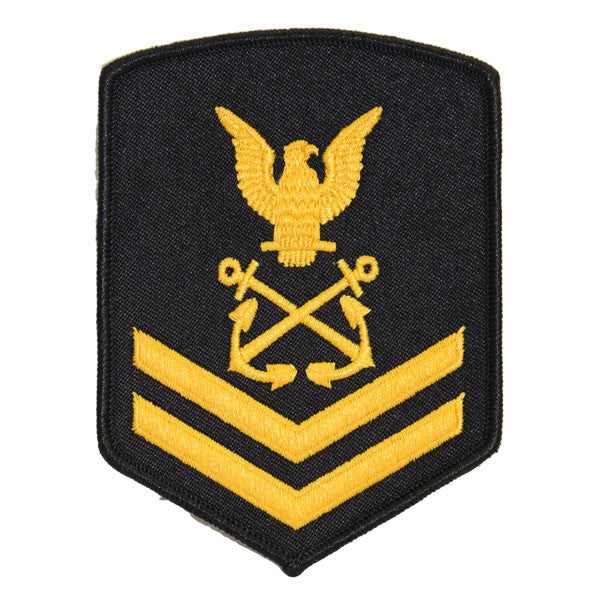 USNSCC - PO2 with (2 Stripes) Sea Cadet Rating Badge Male (Gold on Black)