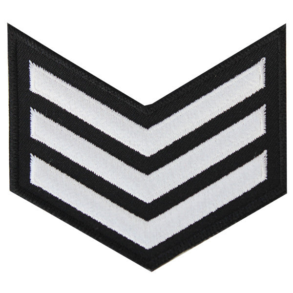 NLCC - E-3 (3 Stripes) NLCC Cadet Rating Badge Female (White on Black)