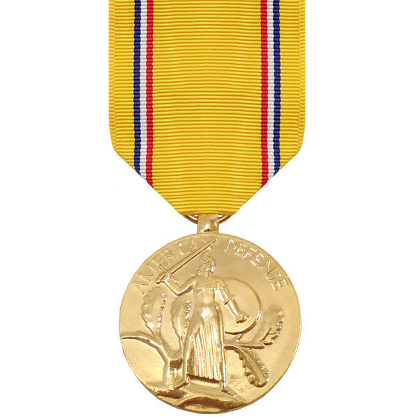 Full Size Medal: American Defense Service - 24k Gold Plated