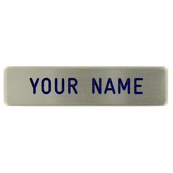 CAP Metal Name Plate: Single Line - silver brushed