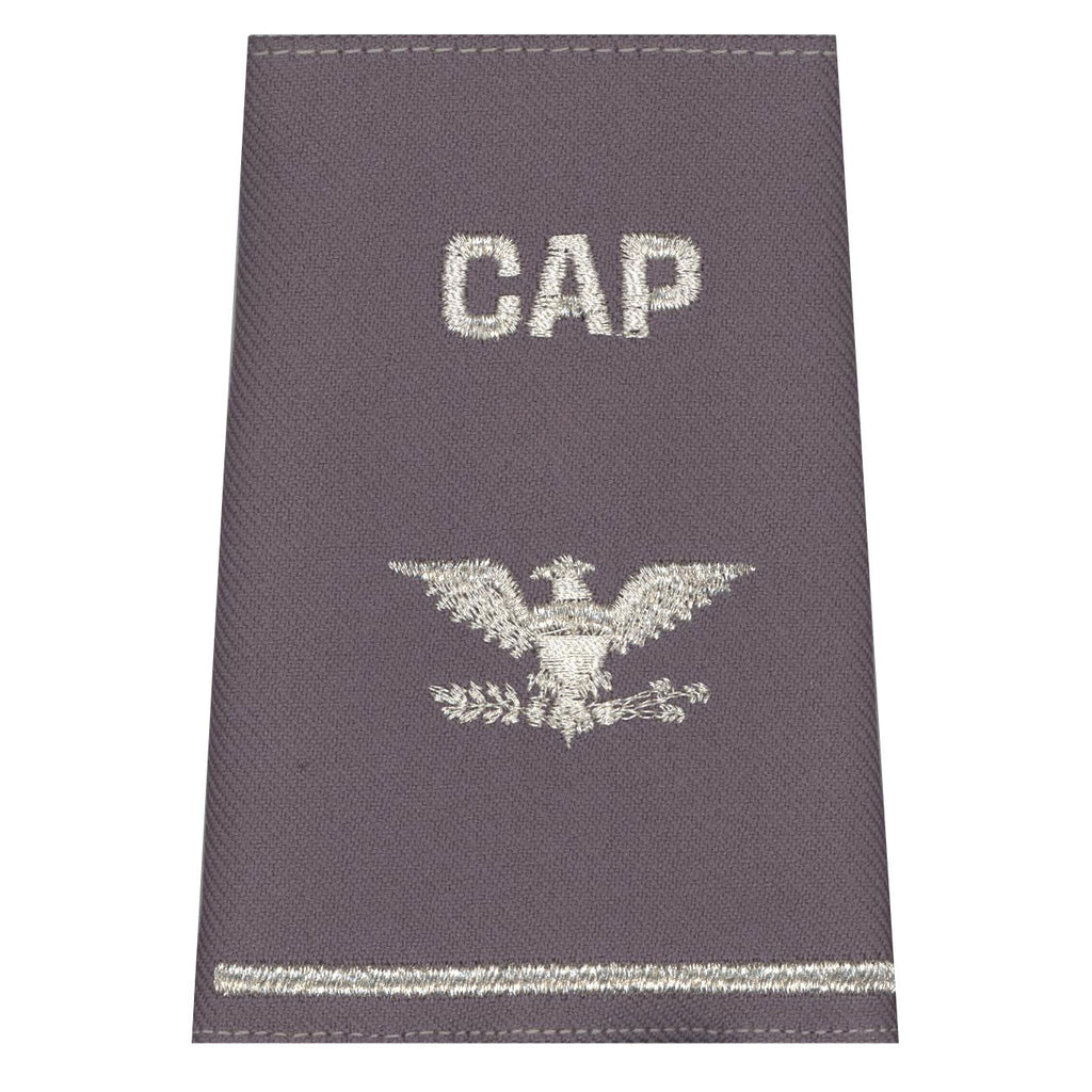 Civil Air Patrol Grey Epaulets: Colonel - hook and loop - unisex