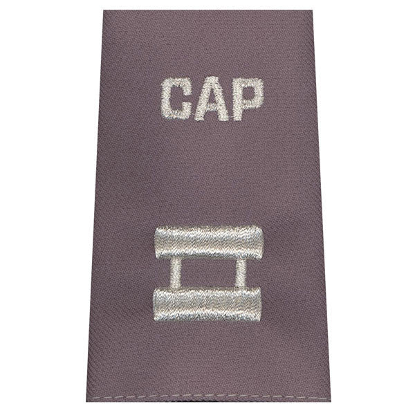 Civil Air Patrol Grey Epaulets: Captain - hook and loop - unisex
