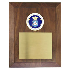 CAP Plaque: Beveled Walnut with Enameled Seal - engraving plate