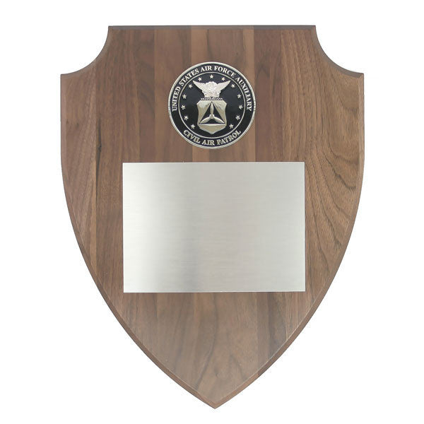 CAP Plaque: Shield Shaped Walnut with Metal Seal - engraving plate