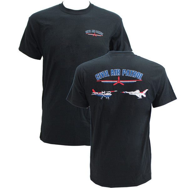 Civil Air Patrol Leisure T-Shirt: Black w/ cessna