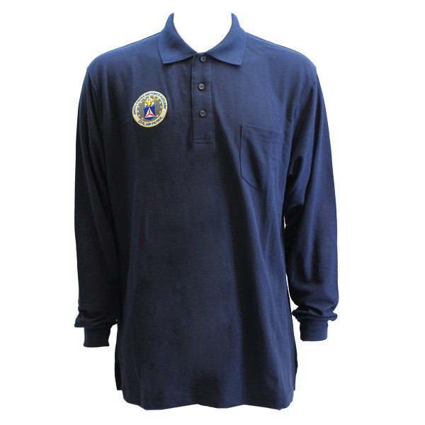 Civil Air Patrol Uniform: Long Sleeve Golf Shirt with Seal - navy blue **PLEASE CHECK THE SIZE MEASUREMENTS**