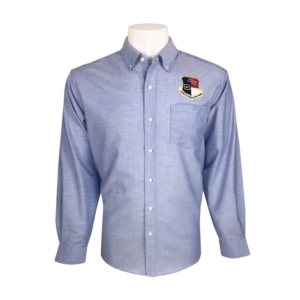 Civil Air Patrol Leisure Shirt: Male Long Sleeve (Oxford Blue) with Wing/Region Emb