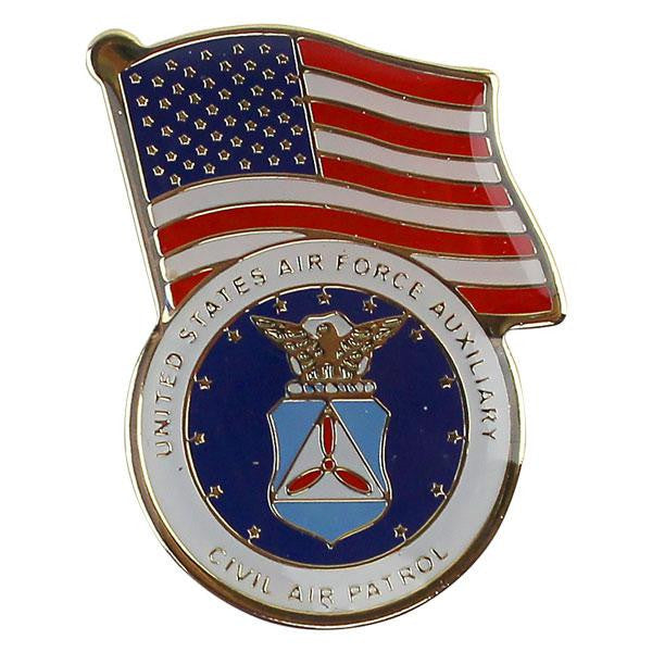 Civil Air Patrol Lapel Pin: US Flag over CAP