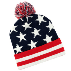 US Flag Knit Cap with Cuff: Red-White-Blue (Stars & Stripes)