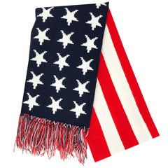 US Flag Knit Scarf: Red-White-Blue (Stars & Stripes)