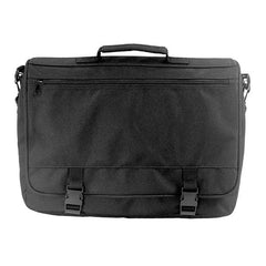 Flapover Attache Case - black polyester with hang tag