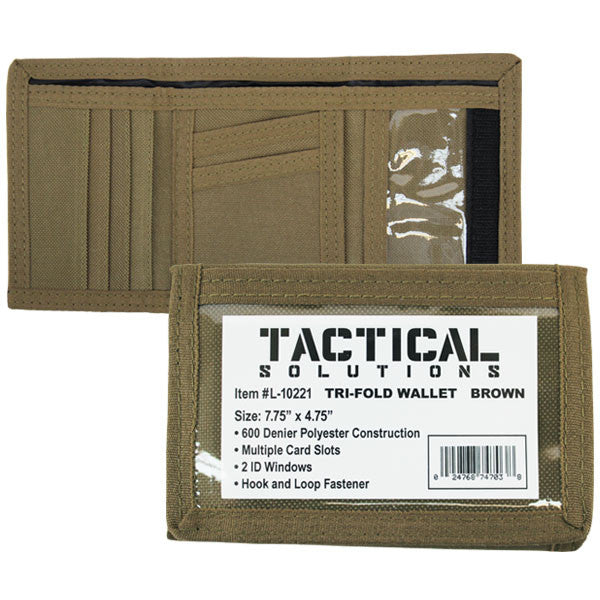 wallet tri fold brown polyester vanguard