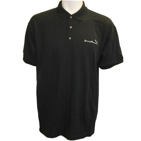 Young Marine's Polo Shirt: Black with Silver Swoosh Logo