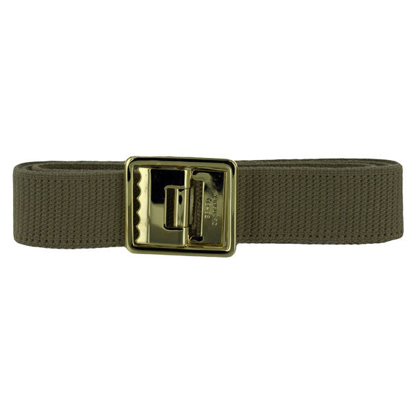 Young Marines Belt: Cotton with Boot Band, Open Face 24k Gold Plated Buckle - khaki