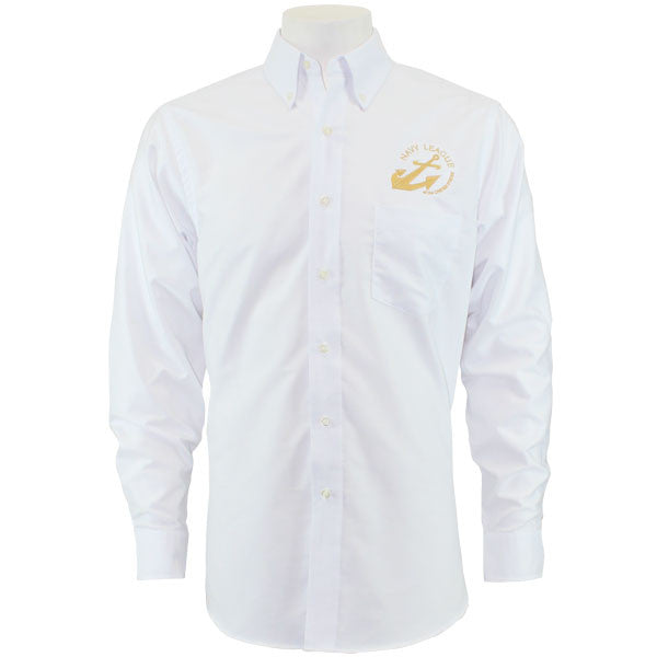 Navy League Men's White Long Sleeve Oxford Shirt With Gold Logo