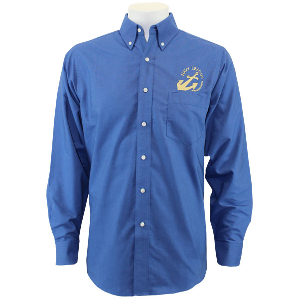 Navy League Men S French Blue Long Sleeve Oxford Shirt With Gold