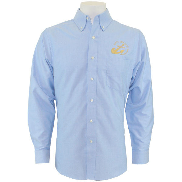 Navy League Men's Light Blue Long Sleeve Oxford Shirt With Gold Logo