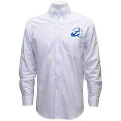 Navy League Men's White Long Sleeve Oxford Shirt With Blue Logo
