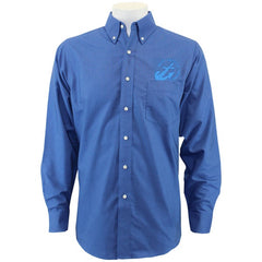 Navy League Men's French Blue Long Sleeve Oxford Shirt With Blue Logo