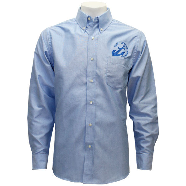 Navy League Men's Light Blue Long Sleeve Oxford Shirt With Blue Logo