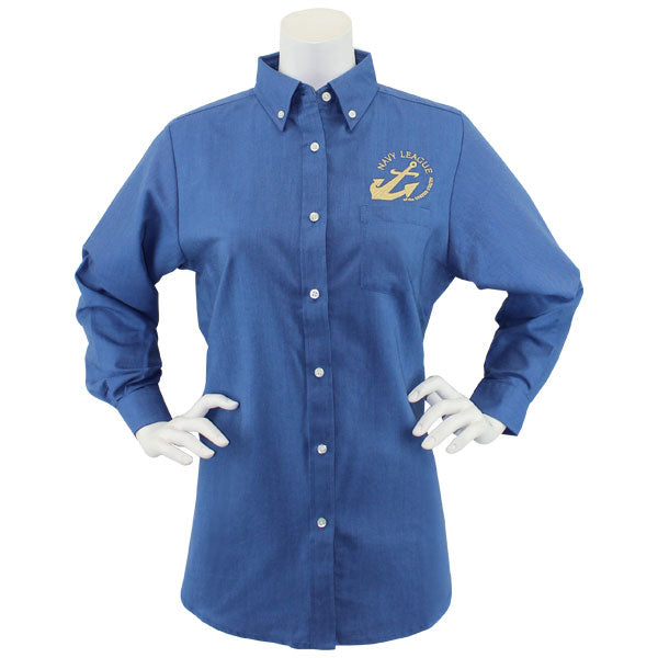 Navy League Women's French Blue Long Sleeve Oxford Shirt With Gold Logo
