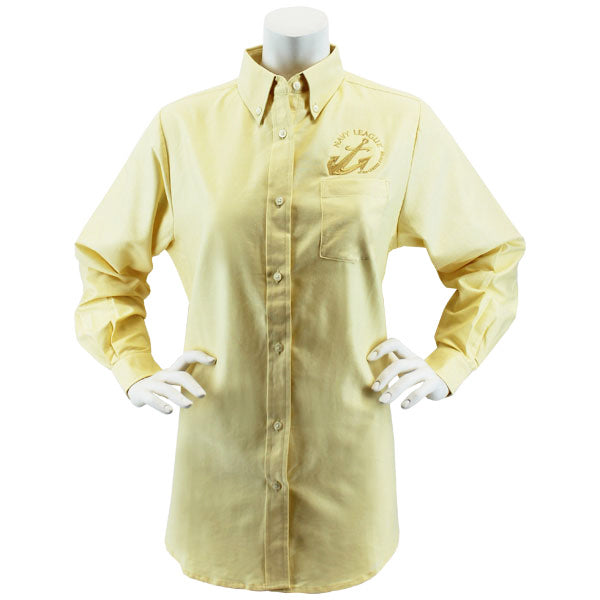 Navy League Women's Butter Long Sleeve Oxford Shirt With Gold Logo