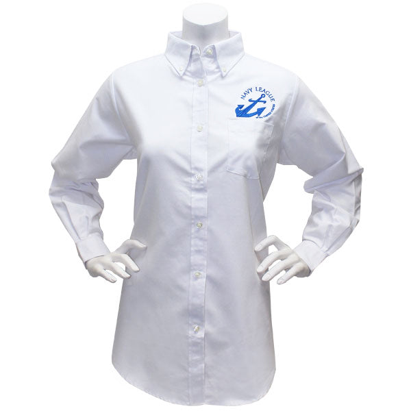 Navy League Women's White Long Sleeve Oxford Shirt With Blue Logo