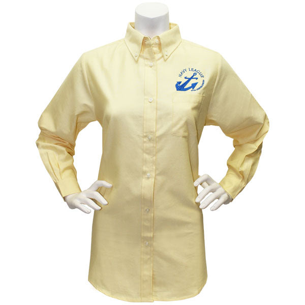 Navy League Women's Butter Long Sleeve Oxford Shirt With Blue Logo