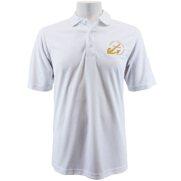 Navy League Men's White Performance Polo Shirt with Gold Logo