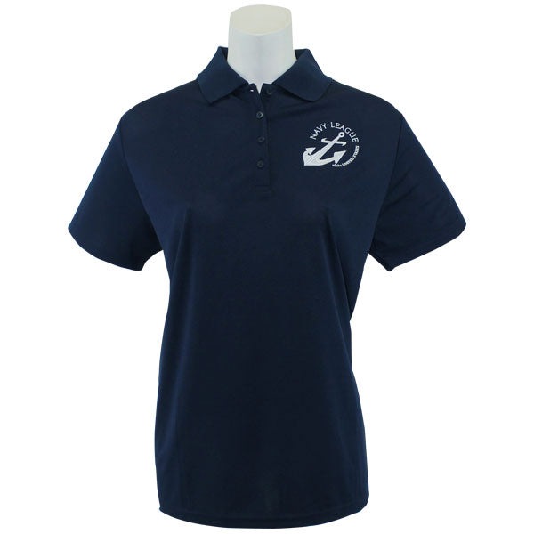 Navy League Women's Navy Performance Polo Shirt with White Logo