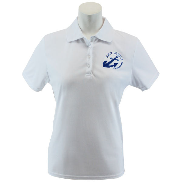 Navy League Women's White Performance Polo Shirt with Blue Logo