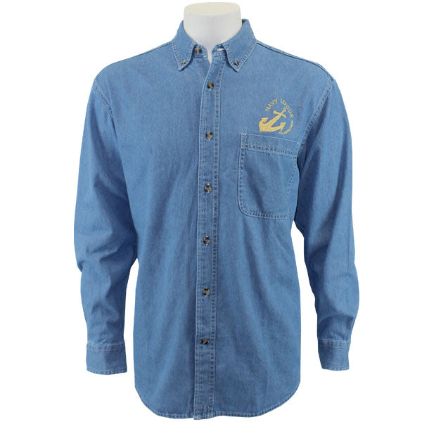 Navy League Men's Light Blue Denim Long Sleeve Shirt With Gold Logo