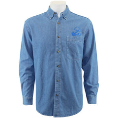 Navy League Men's Light Blue Denim Long Sleeve Shirt With Blue Logo