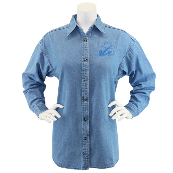 Navy League Women's Light Blue Denim Long Sleeve Shirt With Blue Logo