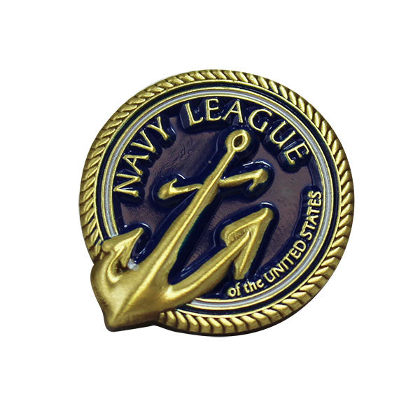 Navy League Lapel Pin on blue background