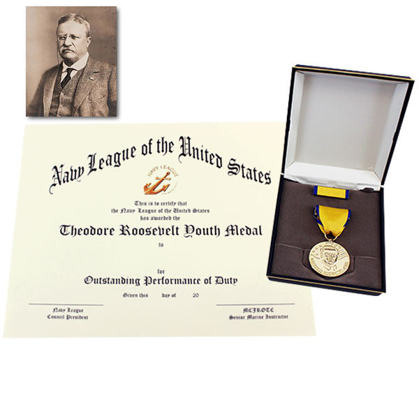 Medal Set Theodore Roosevelt with MCJROTC Certificate