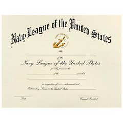NAVY LEAGUE OF THE UNITED STATES CERTIFICATE SAILOR OF THE YEAR OR QUARTER