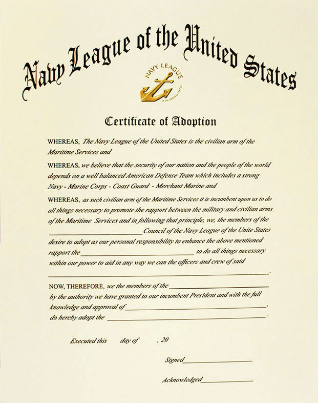 Navy League Of The United States Certificate Of Adoption Vanguard
